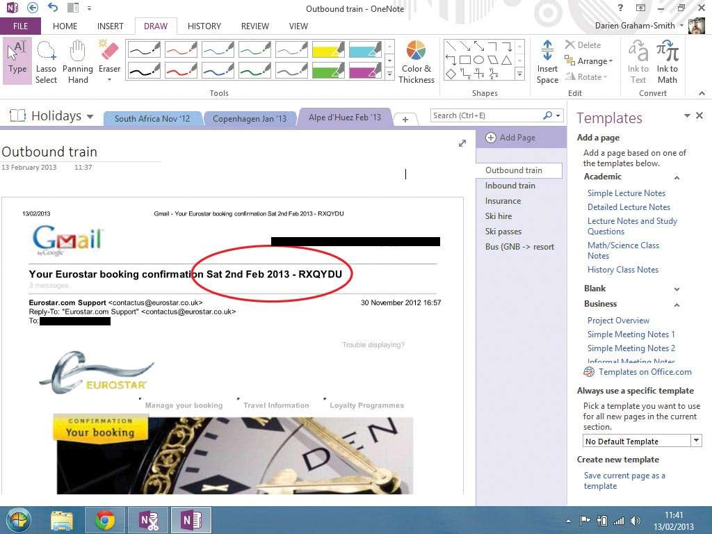 When you launch OneNote for the first time, a sample notebook opens, showca