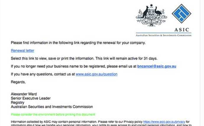 SCAM ALERT: Australian businesses targeted by ASIC ...