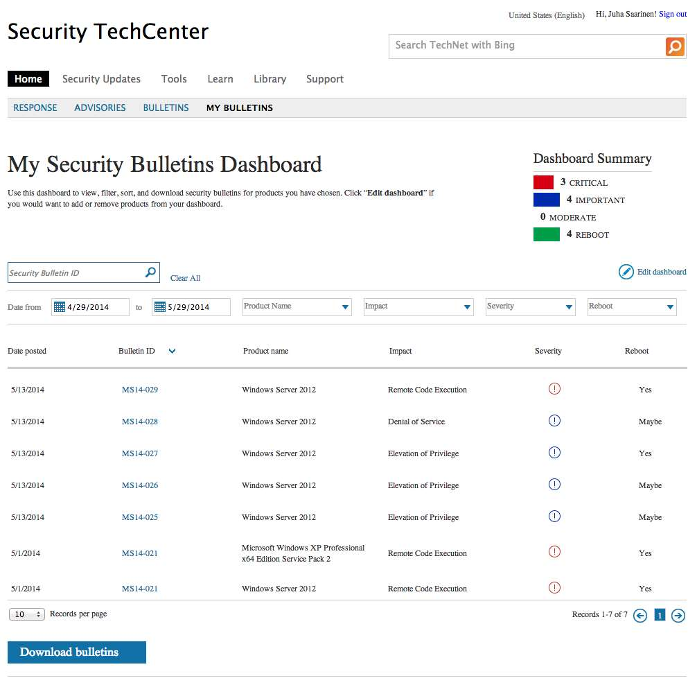 microsoft introduces security bulletin dashboard for admins
