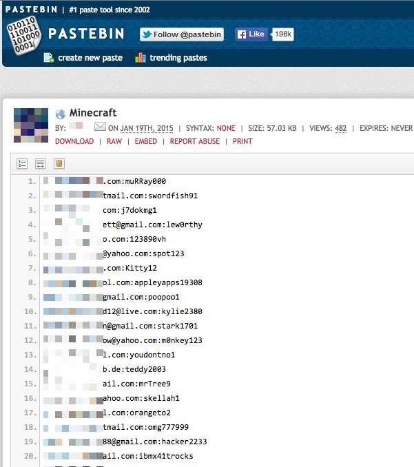 Over 1800 Minecraft account details posted on the web