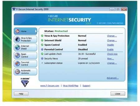 F-Secure Internet Security 2009, credible but a big RAM footprint