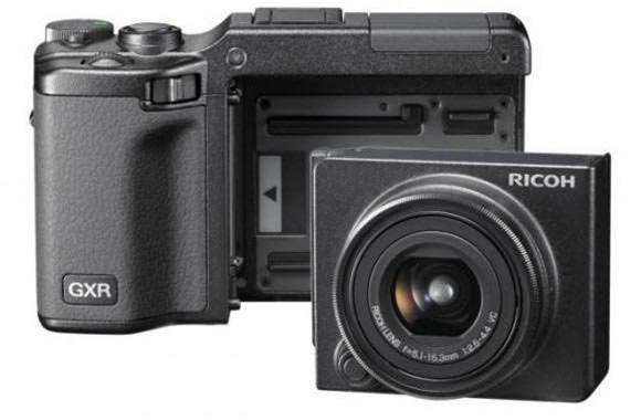 Ricoh's GXR works better as a concept camera and price is far too high to justify unusal design