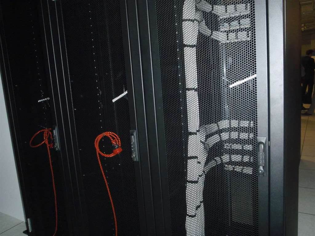 Cabled and ready... New racks at the Vocus data centre in Sydney.