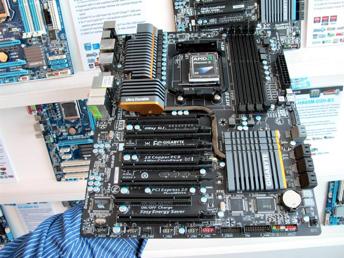 The GA-990FXA UD7 is the top end motherboard for the Zambezi processors that AMD is due to release later this year.
