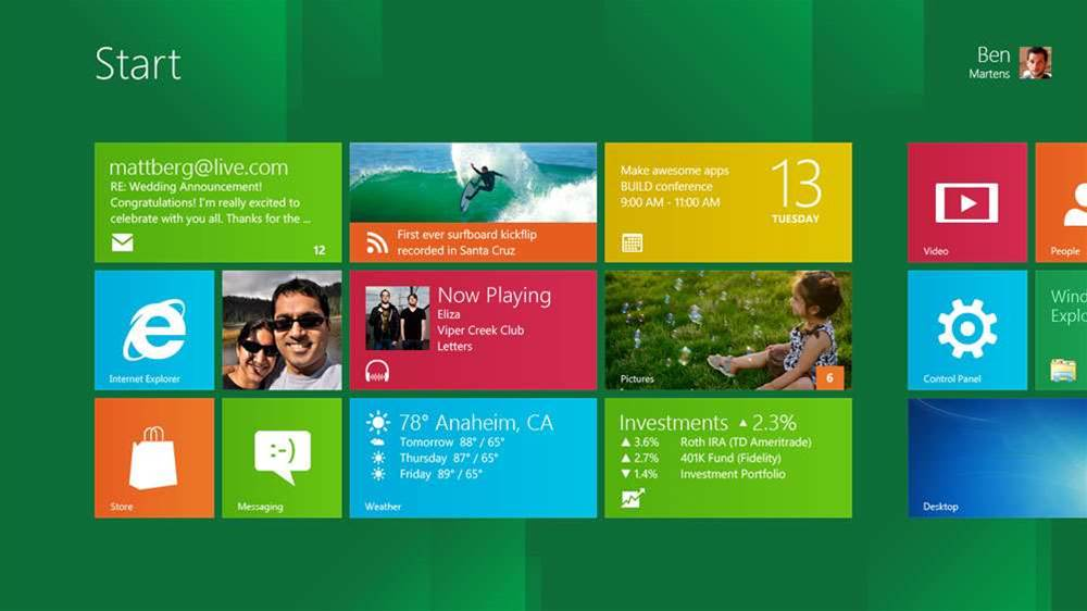 Windows 8 Start Page.