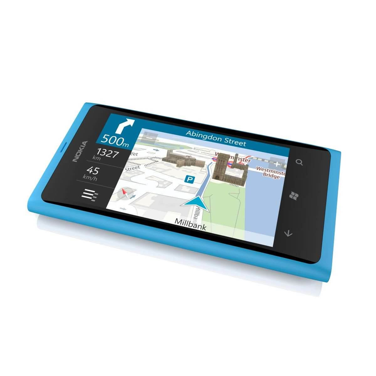 The sleek Lumia 800 features a 3.7 inch AMOLED ClearBlack curved display and a 1.4 GHz processor with hardware acceleration and a graphics processor.