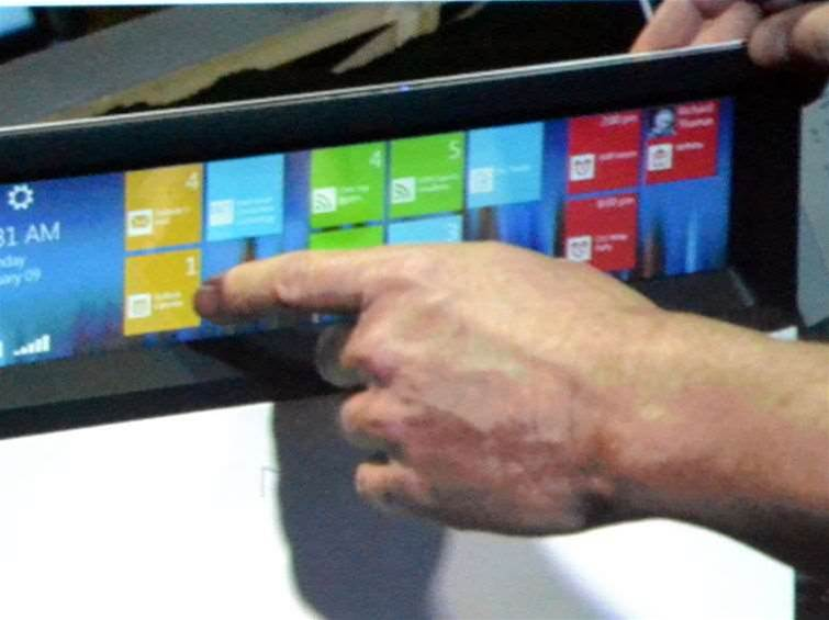 <h2>Intel 'Nikiski' concept Ultrabook</h2>The notifications tiles strongly resemble those found in Windows 8, but Intel said it had developed its own UI for the system.