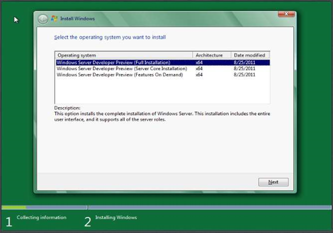 At installation, administrators can choose whether to install the full server UI or just the Server Core - a GUI-less server installation.