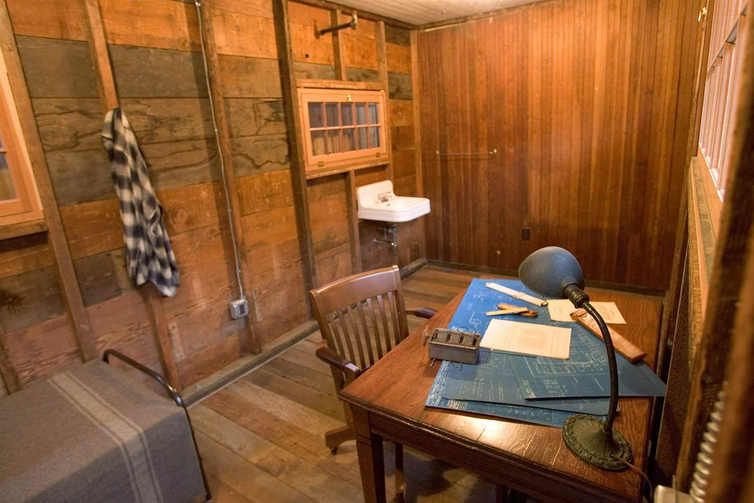 Interior view of the bedsit where Dave Packard slept.