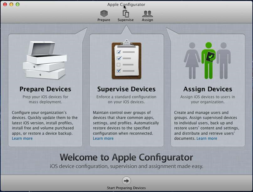 The Apple Configurator launches with a straight-forward GUI that guides you through a three step configuration process.