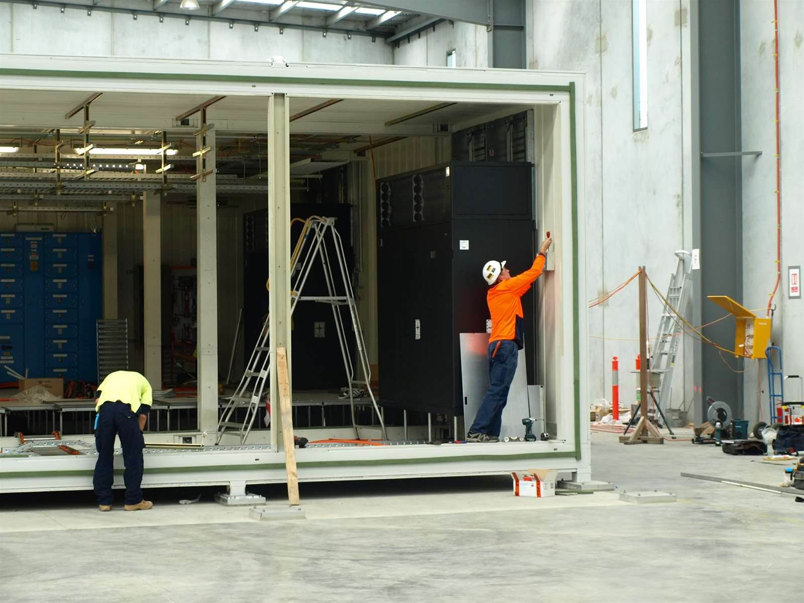 The three modules are bolted down together when installed. They will be used as points of interconnect as well as for other purposes under the NBN.