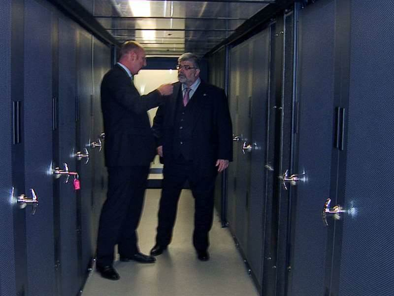 "The data centre features hot aisle containment with ""free air"" capable air-cooled chillers that do not use any water, thus avoiding the use of up to 100,000 litres of water per day."