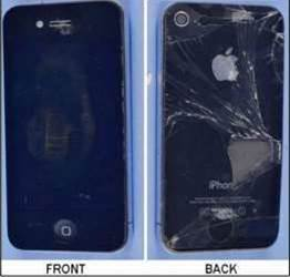 Front and back views of the broken iPhone 4 as it was received by the Australian Transport Safety Bureau for investigation. (photo courtesy: ATSB).