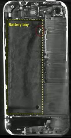 Once the handset was sent to the United States, it underwent a two-stage examination including an initial non-destructive CT scan analysis. This also picked up the errant screw. The device was then disassembled. (photo courtesy: ATSB).
