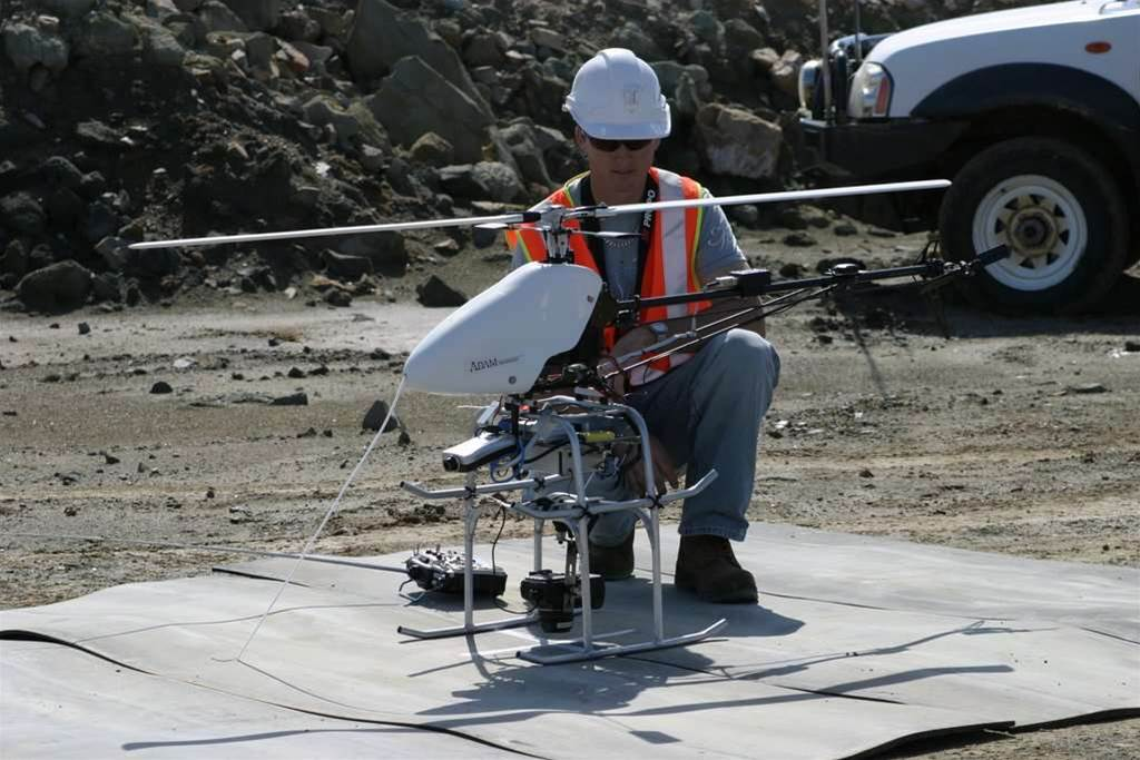 Adam Technology's original vertical take-off and land (VTOL) unmanned aerial vehicle (UAV) in set-up. The undercarriage was a prototype, and has been superseded. (Courtesy: Adam Technology).