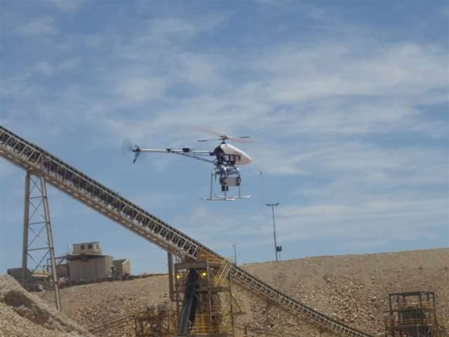 The Adam Technology UAV pictured in flight at an undisclosed mine. Adam Technology provides 3D measurement software and solutions. It now uses the services of A.I. Tech, a Perth UAV maker that is run by Adam's former pilots (Courtesy: Adam Technology.