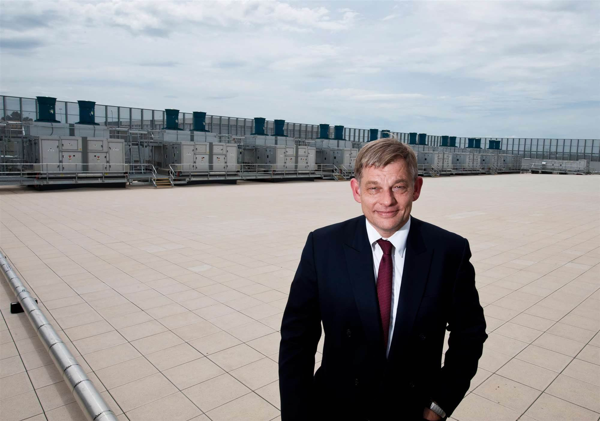 The data centre roof hosts the facility's five generators, air conditioning units and air scrubbers, which are used to clean the ambient air for entry. Pictured: General manager of HP Enterprise Services, Alan Bennett.