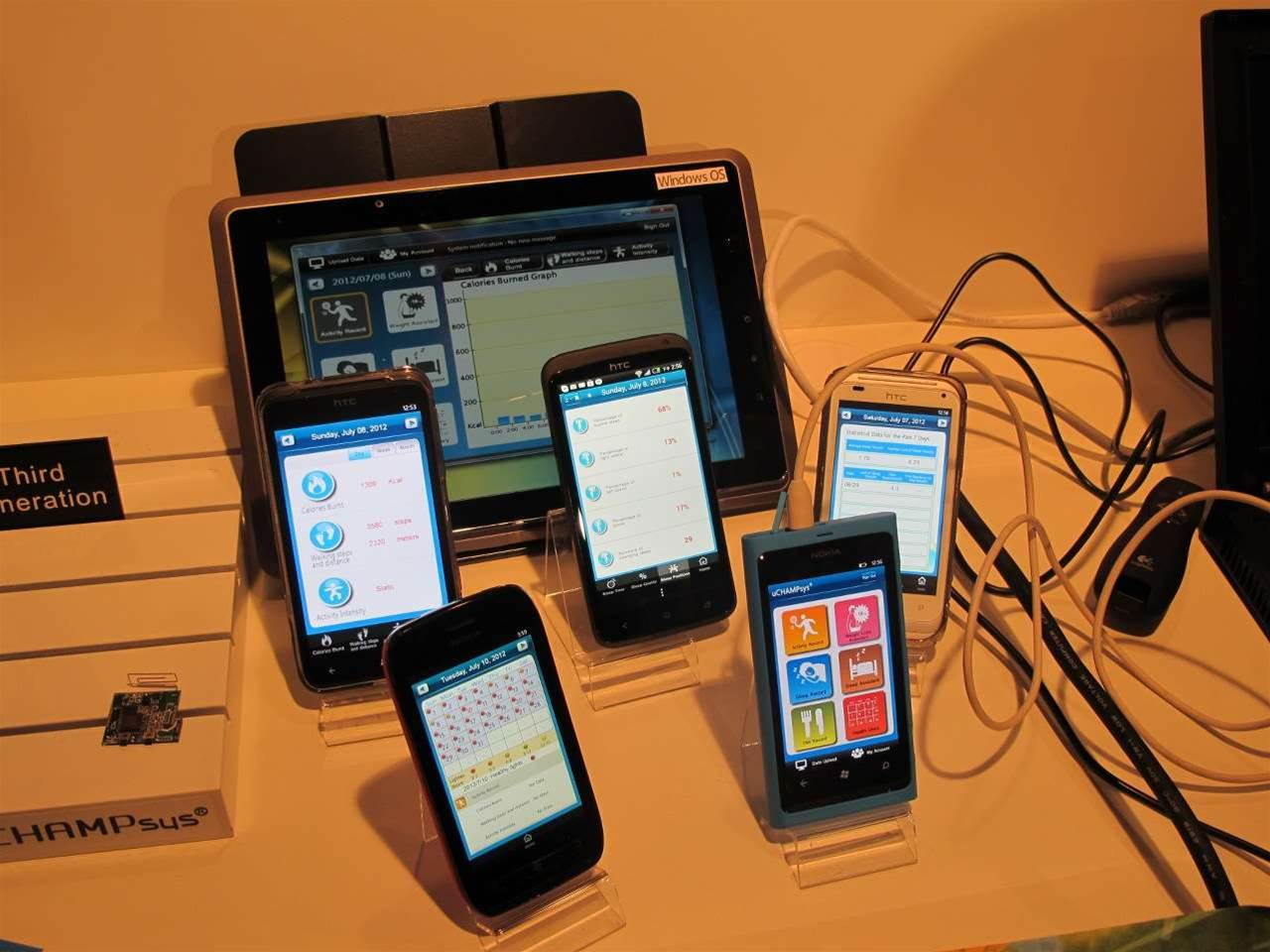 <h2>Team uCHAMPsys</h2>A variety of smartphone handsets showing off assorted uCHAMPsys user data.