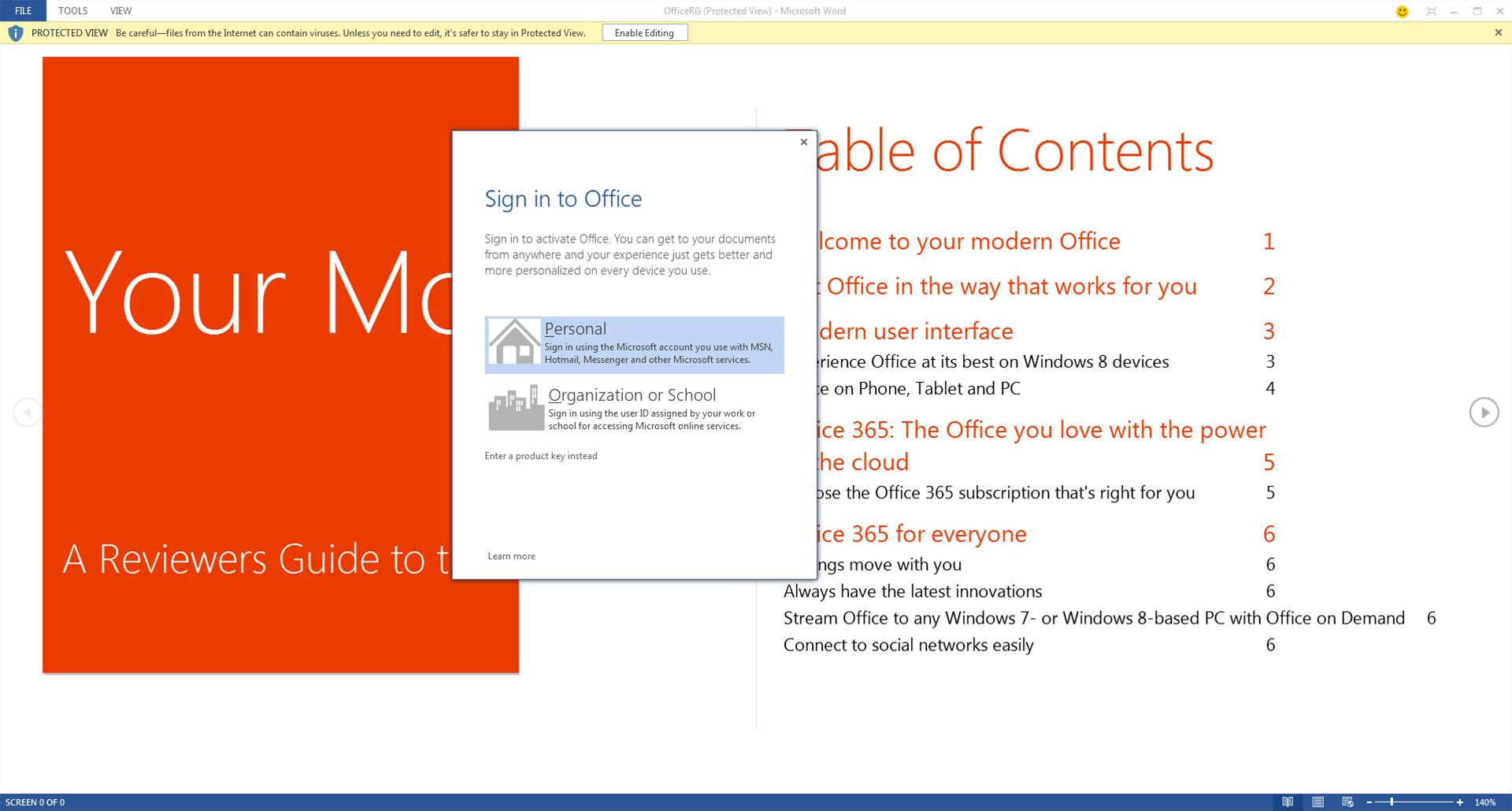 A Microsoft account is required to sign in to Office 365, which only runs on Windows 7 and 8.