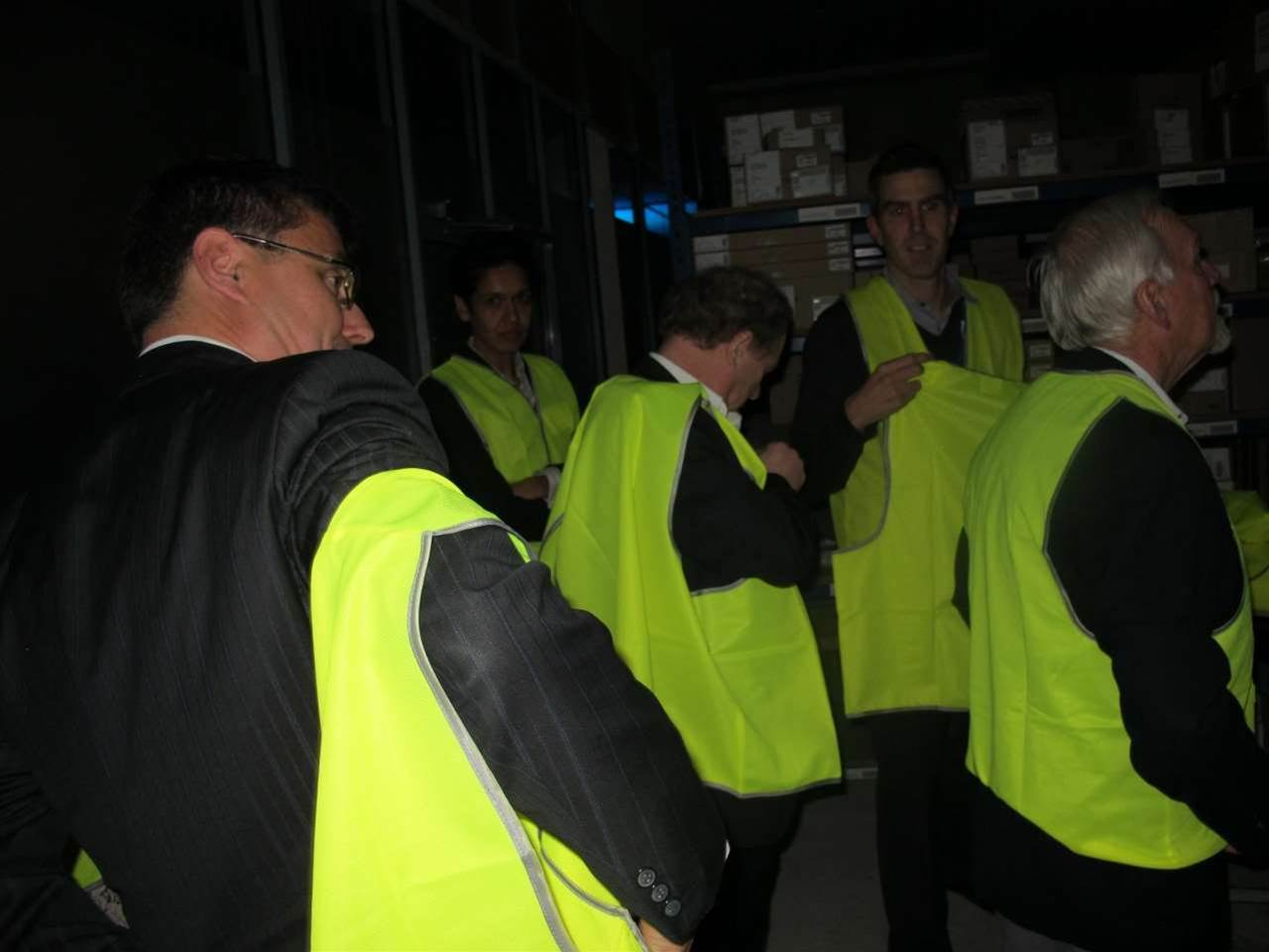 Throughout the festivities, guests were taken out in groups for a guided tour of the facility. (The safety vests were responsible for more than a few fashion faux pas.)