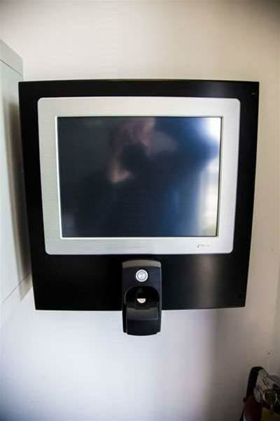 A biometric scanner. The facility has Iris scanners at two entry points.