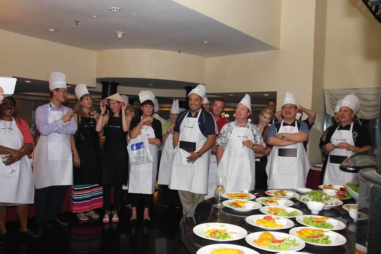 The partners celebrating their culinary achievements.
