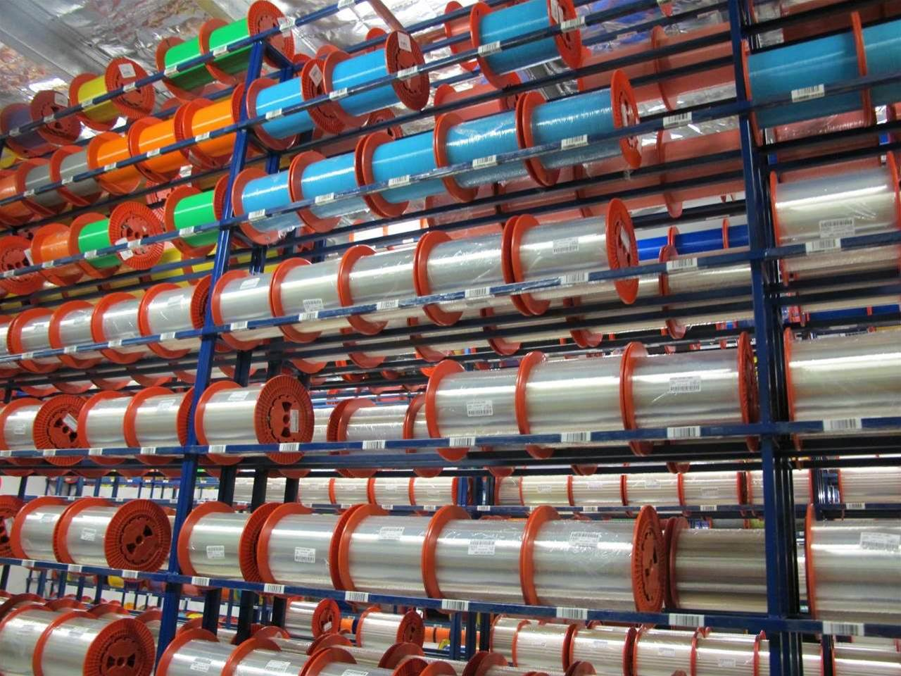 Cable racks at the Prysmian cable manufacturing plant.