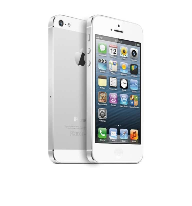 The white iPhone 5 comes in white and silver aluminium.