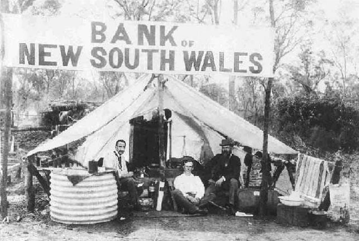 A Bank of New South Wales 'tent branch' in the goldfields at West Wyalong. [Picture credit: Westpac]