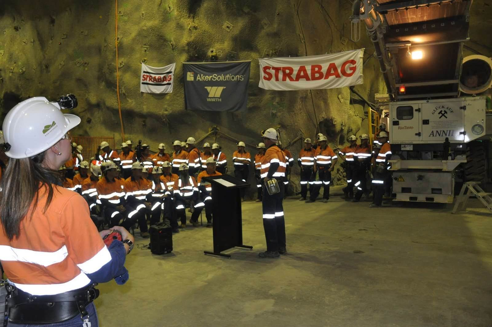 The new tunnel boring machine was officially put into action on Friday last week. An underground ceremony attended by top Rio Tinto innovation and technology executives was held to mark the occasion. The machine was actually delivered in October 2012 and took four months to assemble.