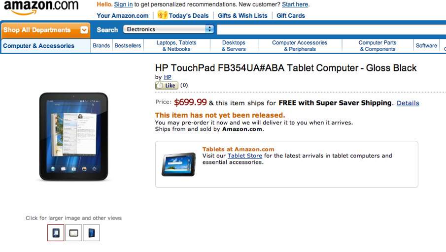 HP 4G TouchPad debuts on Amazon at $US699