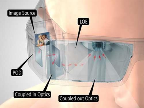 Lumus see-through video glasses project 87in virtual displays