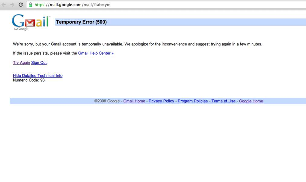 Gmail suffers hour-long outage