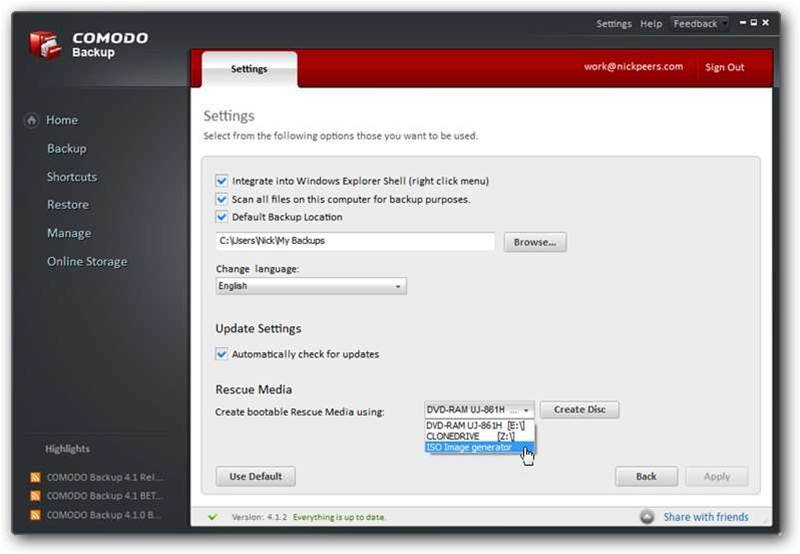COMODO Backup 4.1.2 released, offers comprehensive backup solution for Windows users