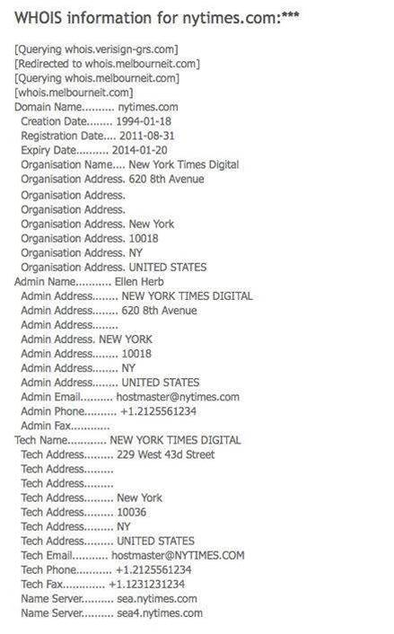 WhoIs info on nytimes
