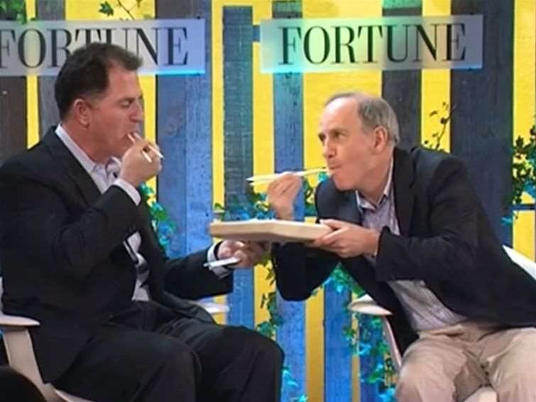 Michael Dell tucks into edible PC packaging