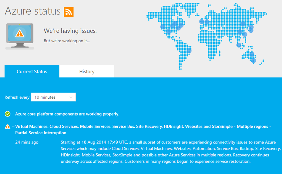 Azure users hit by worldwide outage