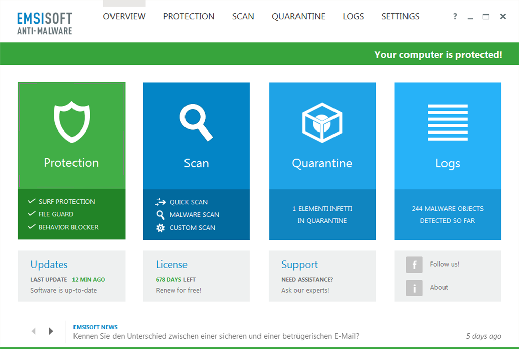 Emsisoft Anti-Malware and Emsisoft Internet Security 10 released