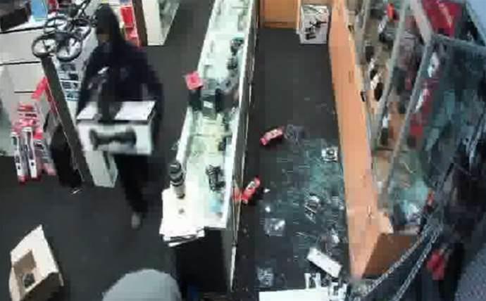 Police hunt Harvey Norman break-in suspects