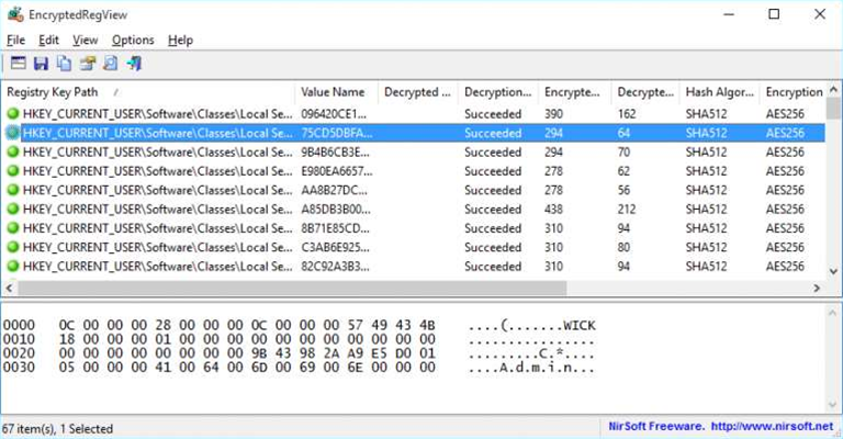 NirSoft's EncryptedRegView decrypts and displays secret Registry data