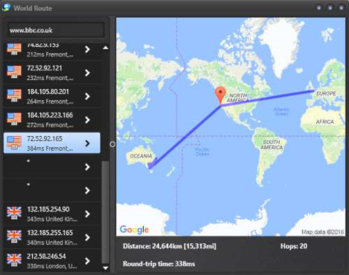 SoftPerfect's World Route 1.0 is a simple visual traceroute
