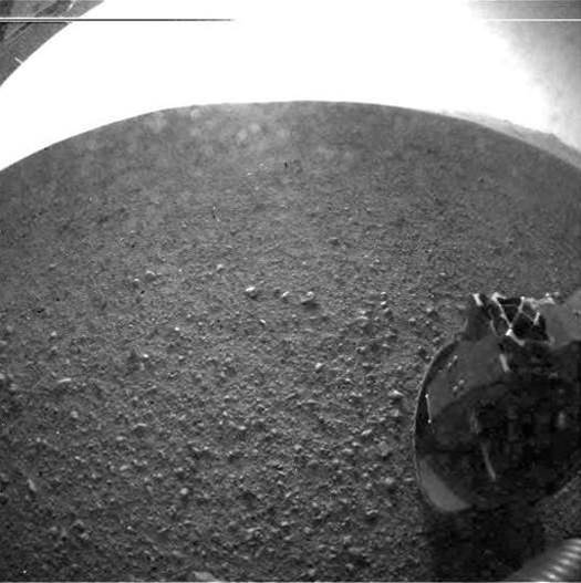 Mars Rover Curiosity Sends First High-Resolution Photo