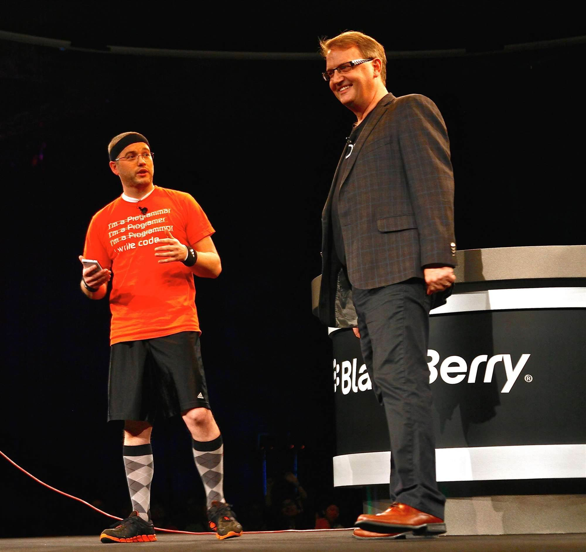 Blackberry VP for developer relations demos a wireless heart rate app