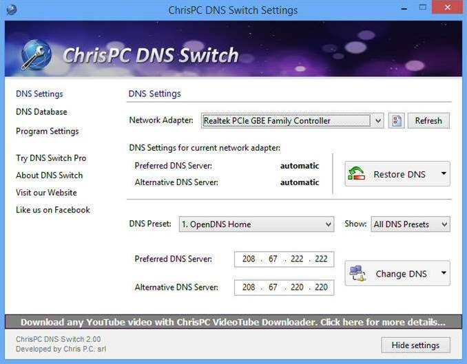 ChrisPC DNS Switch 2.0 delivers a new Pro edition