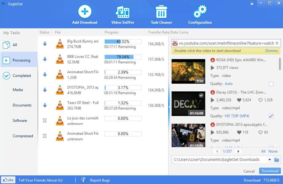 EagleGet 1.1 extends YouTube download support, improves browser integration