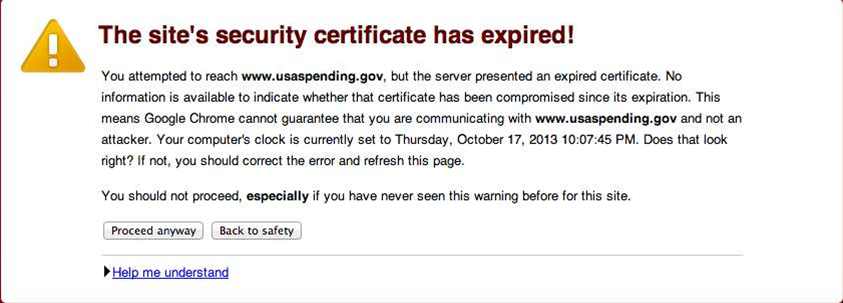 Google Chrome warning for the expired SSL certificate for a US government site