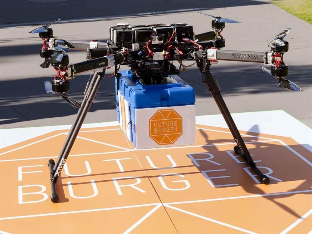 Monash University delivers burgers by drone Open Day