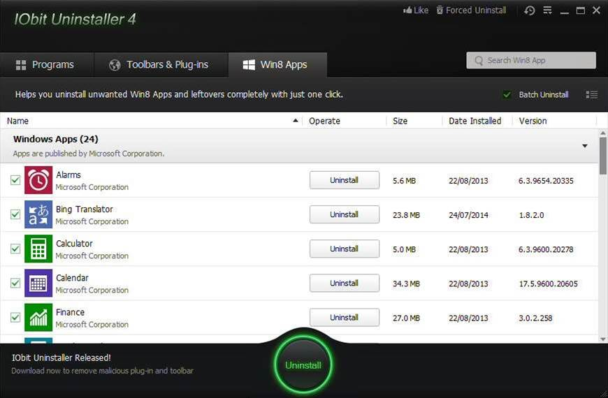 IObit Uninstaller 4 fully removes Windows 8 apps