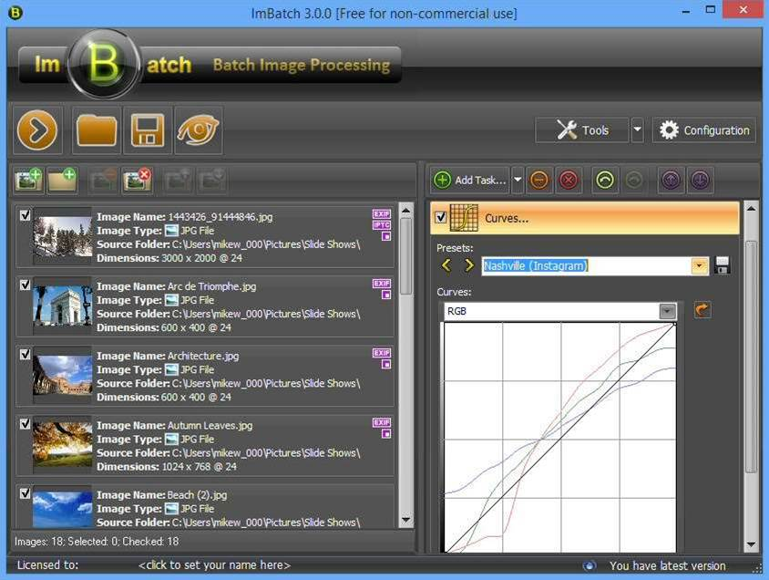 ImBatch 3.0 adds Curves tool