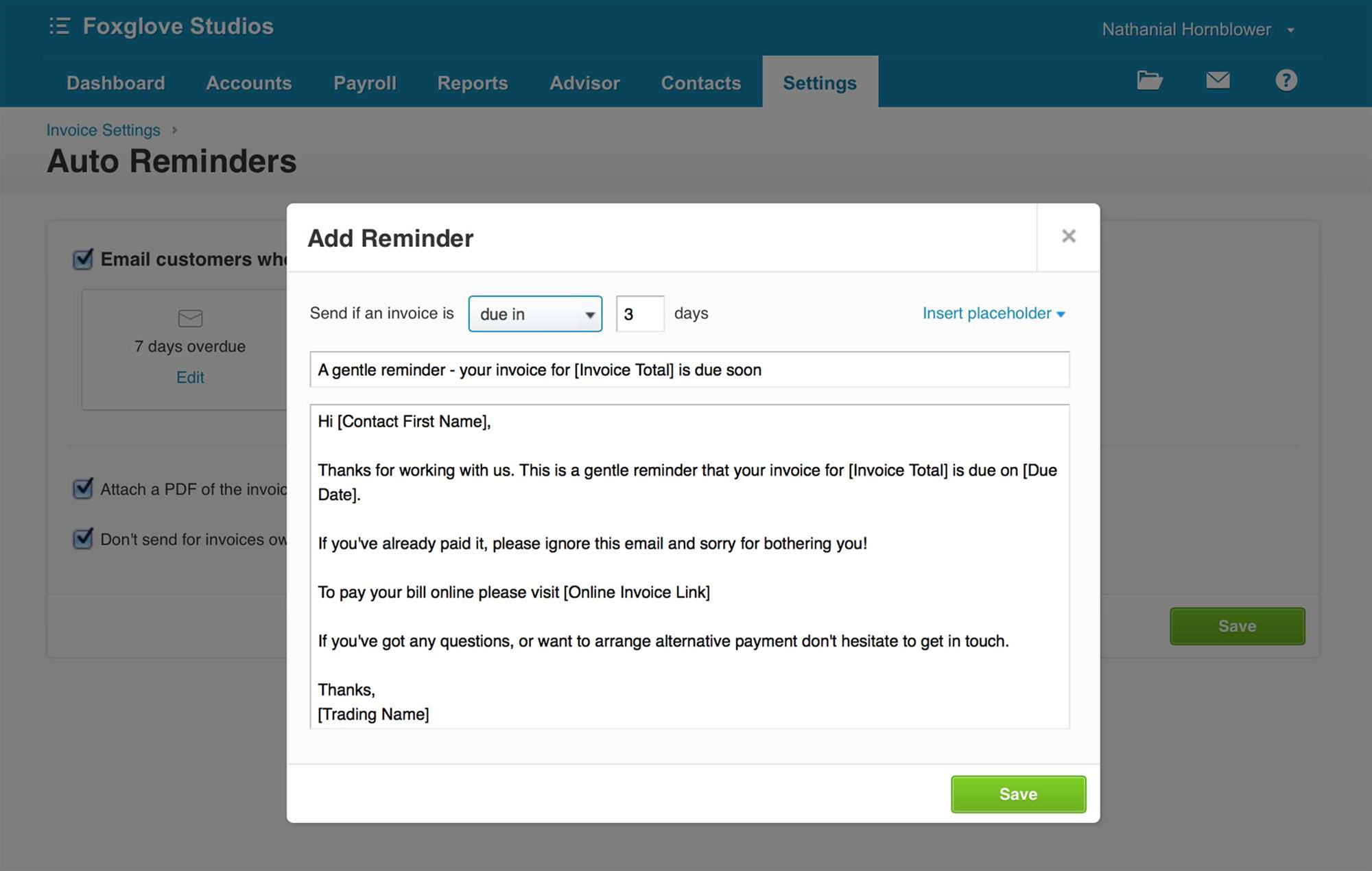 Xero reminders arrive on schedule